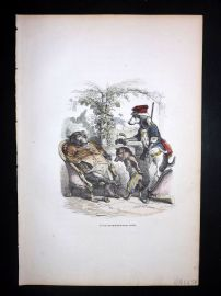 Grandville 1842 Hand Col Print. Fox arrested by Dog